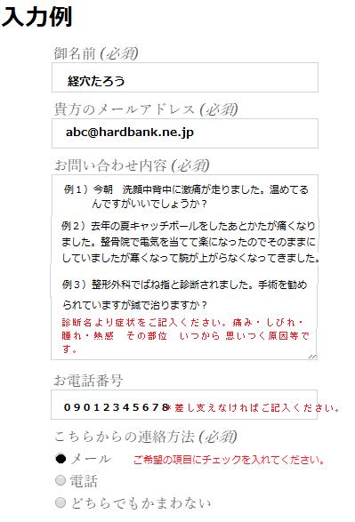 メールフォーム記入例